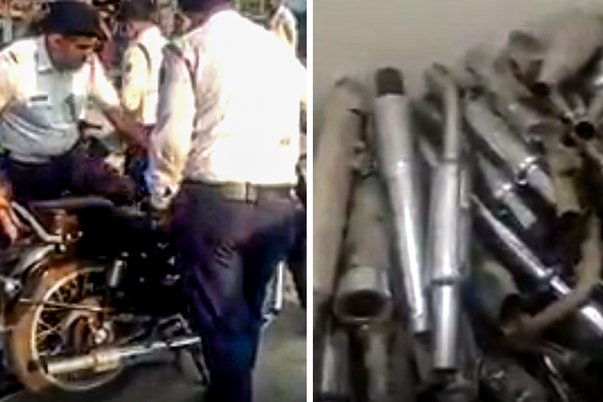 Noisy exhausts caught and seized by Indian police, New Delhi